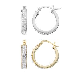Sterling 'N' Ice Sterling Silver Double Row Hoop Earring Set