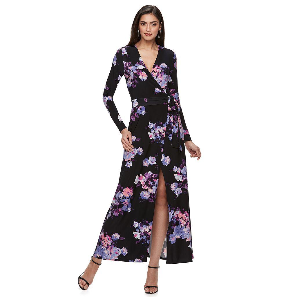 Petite Jennifer Lopez Faux-Wrap Maxi Dress