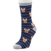 Women's Striped Owl Crew Socks
