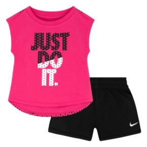 "Baby Girl Nike ""Just Do It"" Graphic Tee & Logo Shorts Set"
