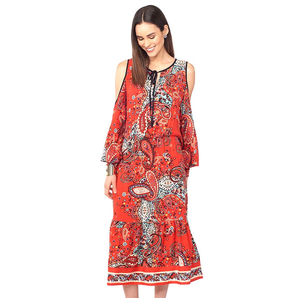 Women's Indication by ECI Cold-Shoulder Paisley Dress