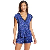 Women's Maidenform Pajamas: Satin Trim Top & Shorts 2-Piece PJ Set