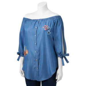Juniors' Plus Size HeartSoul Floral Embroidery Off-the-Shoulder Blouse