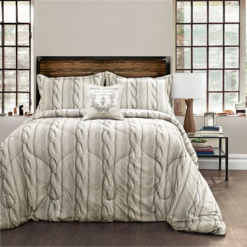 Printed Cable Knit 4-piece Comforter Set