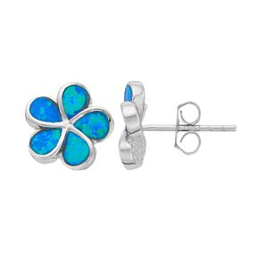 Sterling Silver Lab-Created Blue Opal Flower Stud Earrings