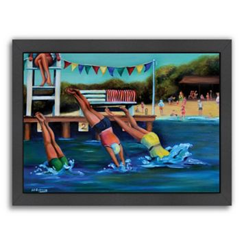 Americanflat Round Bay Water Carnival Framed Wall Art