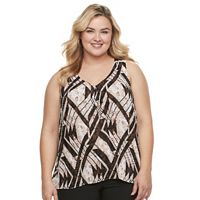 Plus Size Dana Buchman Accordion-Pleat Tank