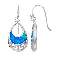 Sterling Silver Lab-Created Blue Opal Openwork Teardrop Earrings