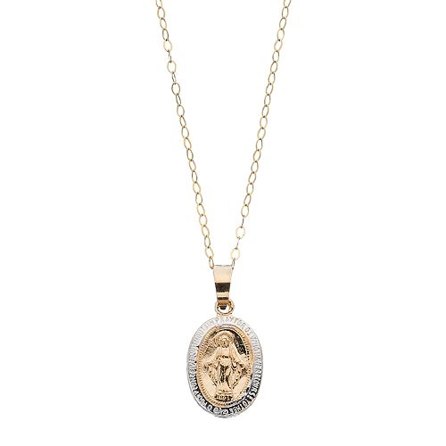 Charming Girl Kids 14k Gold Two Tone Miraculous Medal Pendant Necklace