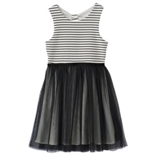 Girls 7-16 Three Pink Hearts Stripe & Tulle Bow Back Dress