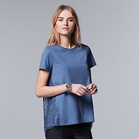 Petite Simply Vera Vera Wang Lace-Back Crewneck Top