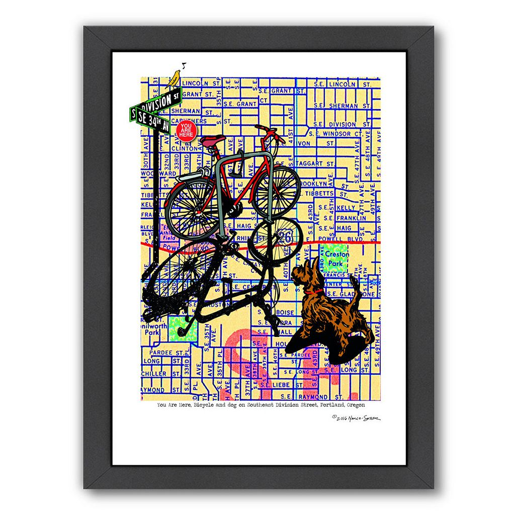 Americanflat Bicycle & Dog Division Portland Framed Wall Art