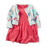 Baby Girl Carter's Crochet Lace Bodysuit Dress & Floral Cardigan Set