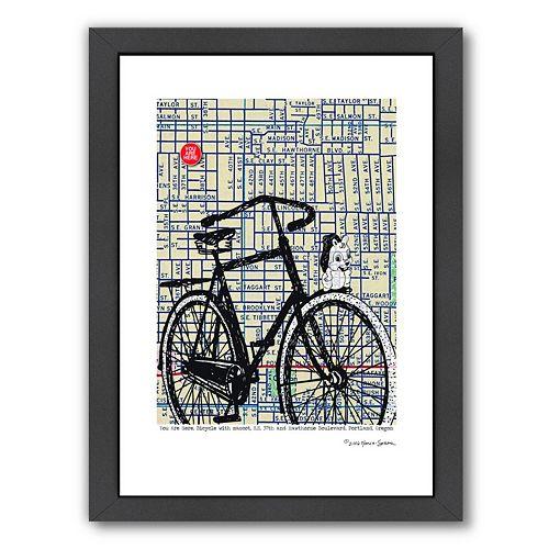 Americanflat Bicycle On Hawthorne Portland Framed Wall Art
