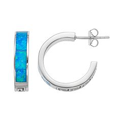 Sterling Silver Lab-Created Blue Opal Greek Key Hoop Earrings
