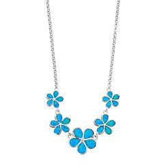Sterling Silver Lab-Created Blue Opal Flower Necklace