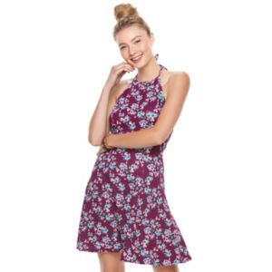 Juniors' SO® Textured Floral Halter Skater Dress