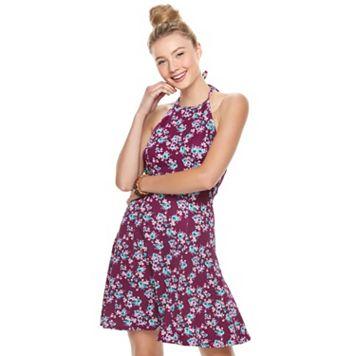 Juniors' SO® Textured Floral Halter Skater Dress