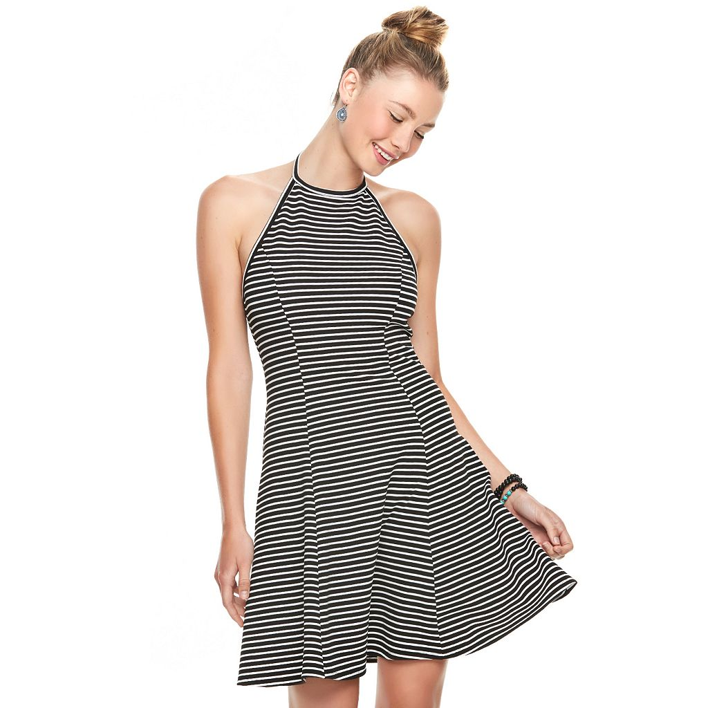 Juniors' SO® Textured Striped Halter Dress