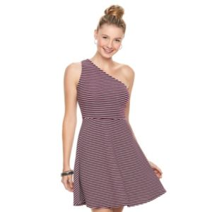 Juniors' SO® Textured Striped One Shoulder Dress