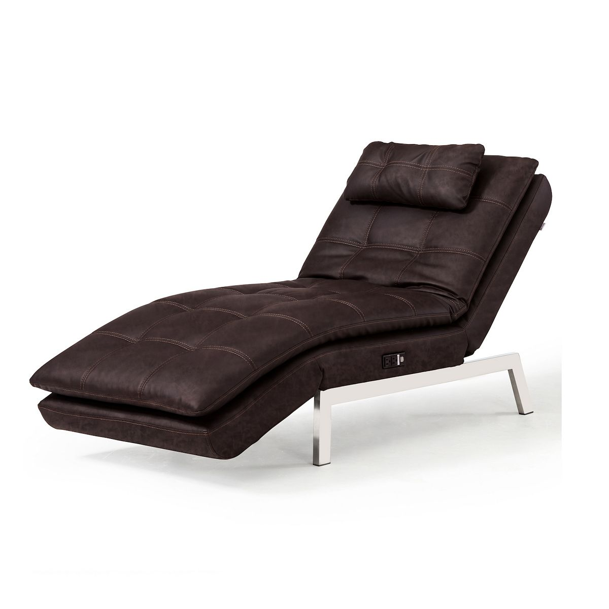 Relax A Lounger Arnold Convertible Chaise Lounge / Sleeper w/ USB (Brown w/ Tan stitching)