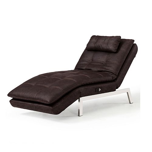 Relax A Lounger Faux-Leather Charging Station Convertible Chaise Chair
