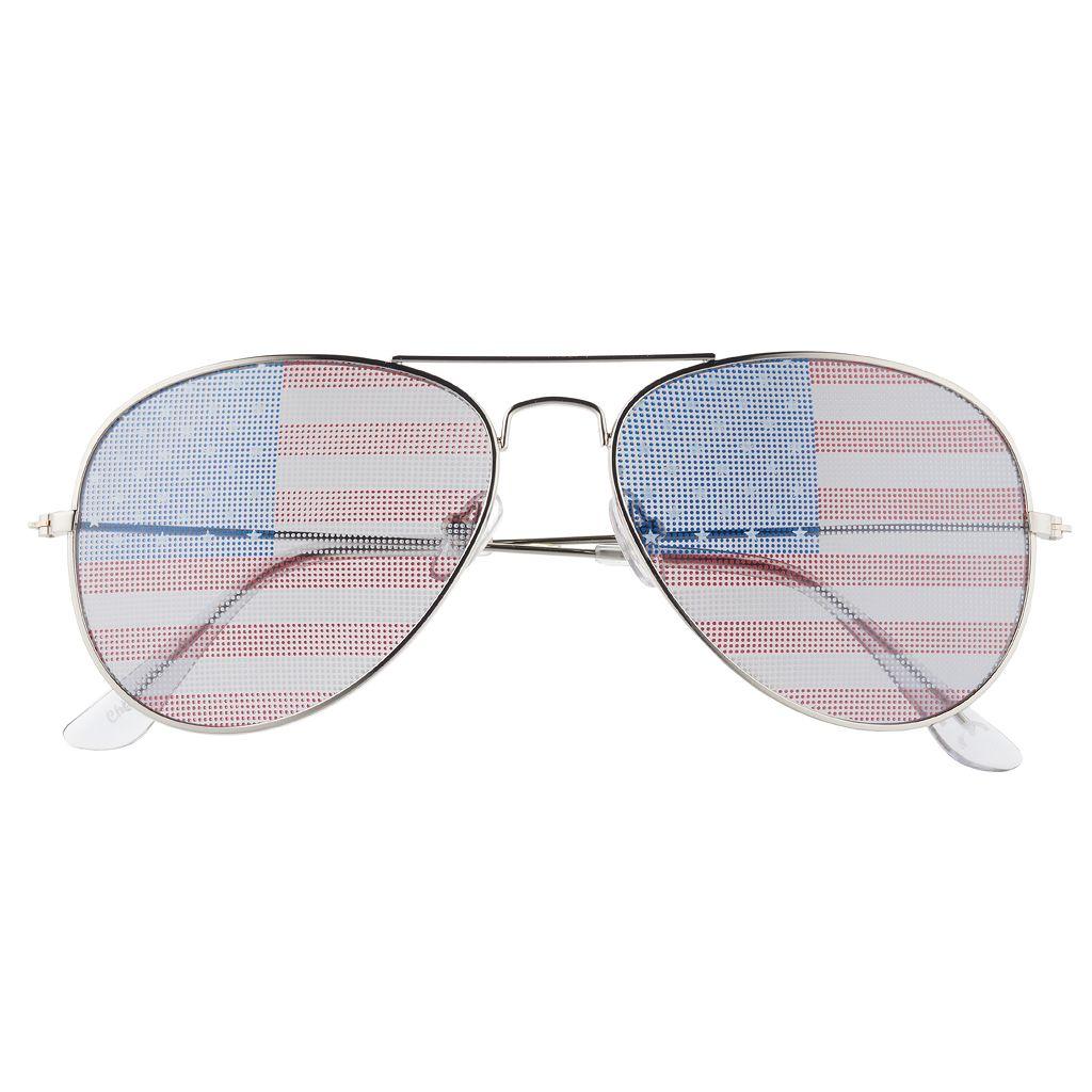 Men's Aviator American Flag Sunglasses