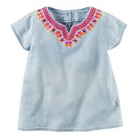 Toddler Girl Carter's Short Sleeve Embroidered Chambray Top