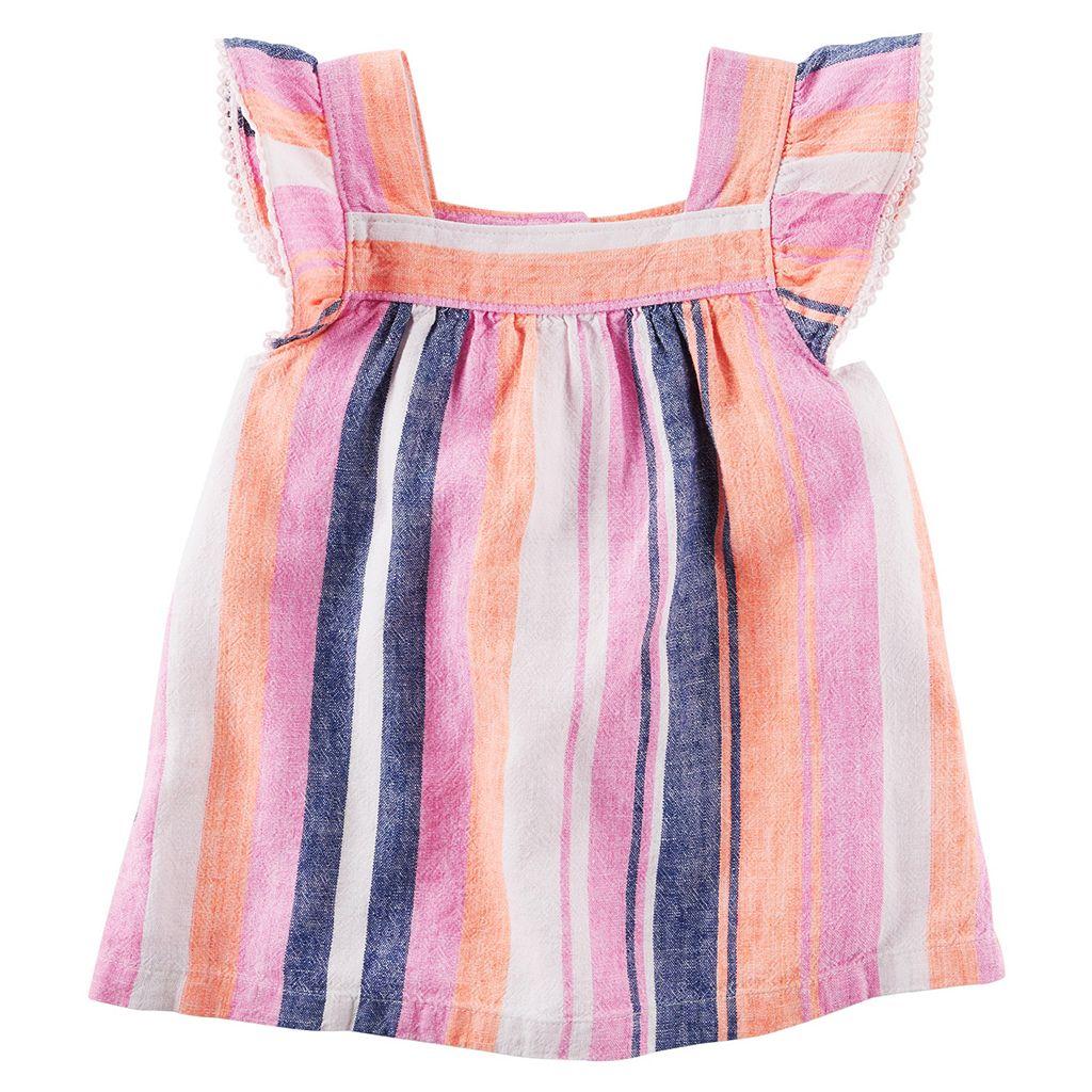 Toddler Girl Carter's Multi-Stripe Flutter Linen Tank Top