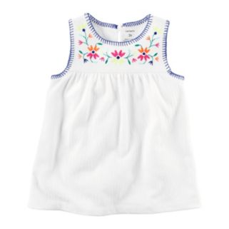 Toddler Girl Carter's Embroidered Woven Tank Top