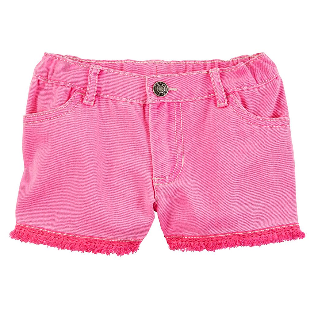 Toddler Girl Carter's Fringe Trim Pink Denim Shorts