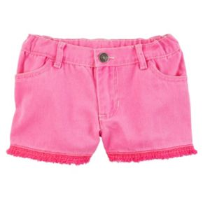 Toddler Girl Carter's Fringe Trim Pink Denim Shorts