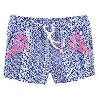Toddler Girl Carter's Patterned Embroidered Knit Shorts
