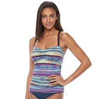 Women's N Island Fever Ikat Ruched Tankini Top