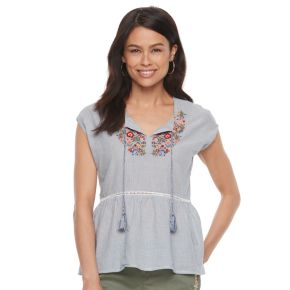 Petite SONOMA Goods for Life? Embroidered Peplum Top