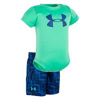 Baby Boy Under Armour Graphic Logo Bodysuit & Geometric Shorts Set