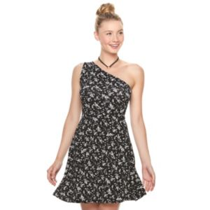 Juniors' SO® Textured Floral One Shoulder Dress