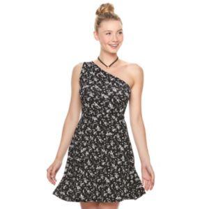 Juniors' SO® Textured Floral One Shoulder Dress