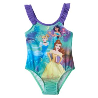 Disney Princess Cinderella, Jasmine & Belle Toddler Girl Ruffle One-Piece Swimsuit