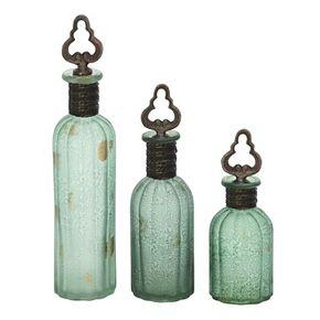 Rustic Glass Bottle Table Decor 3-piece Set