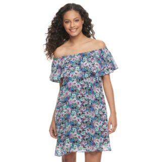 Juniors' Speechless Floral Off-the-Shoulder Dress