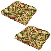 Plantation Patterns 2-pack Outdoor Tufted Seat Pad Cushion