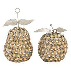 Jeweled Metal Apple & Pear Table Decor 2-piece Set