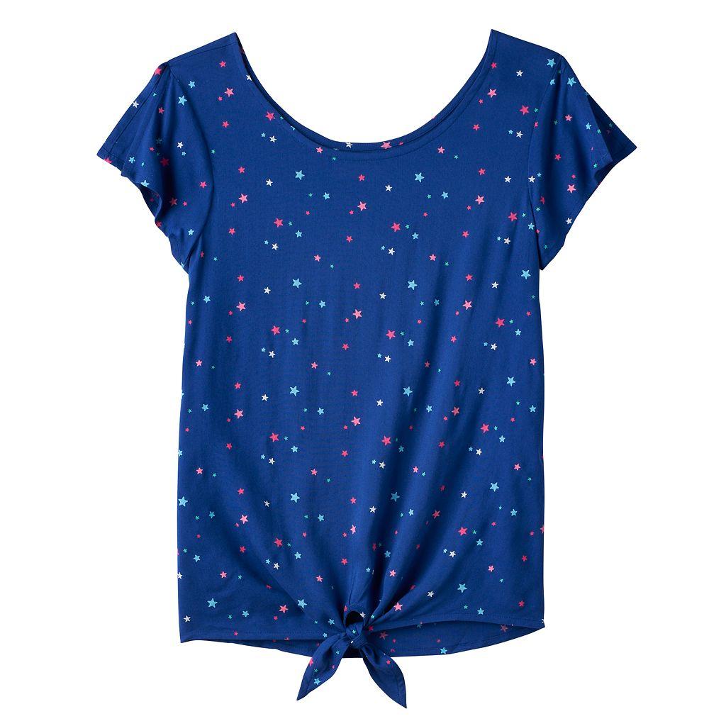 Girls 7-16 SO® Print Tie-Front Top