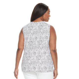 Plus Size Croft & Barrow® Printed Splitneck Tank