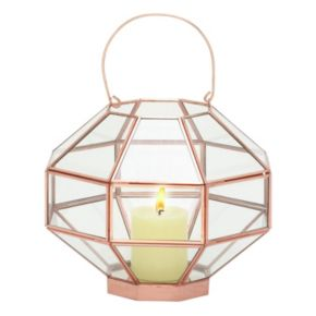Geometric Glass Lantern Table Decor