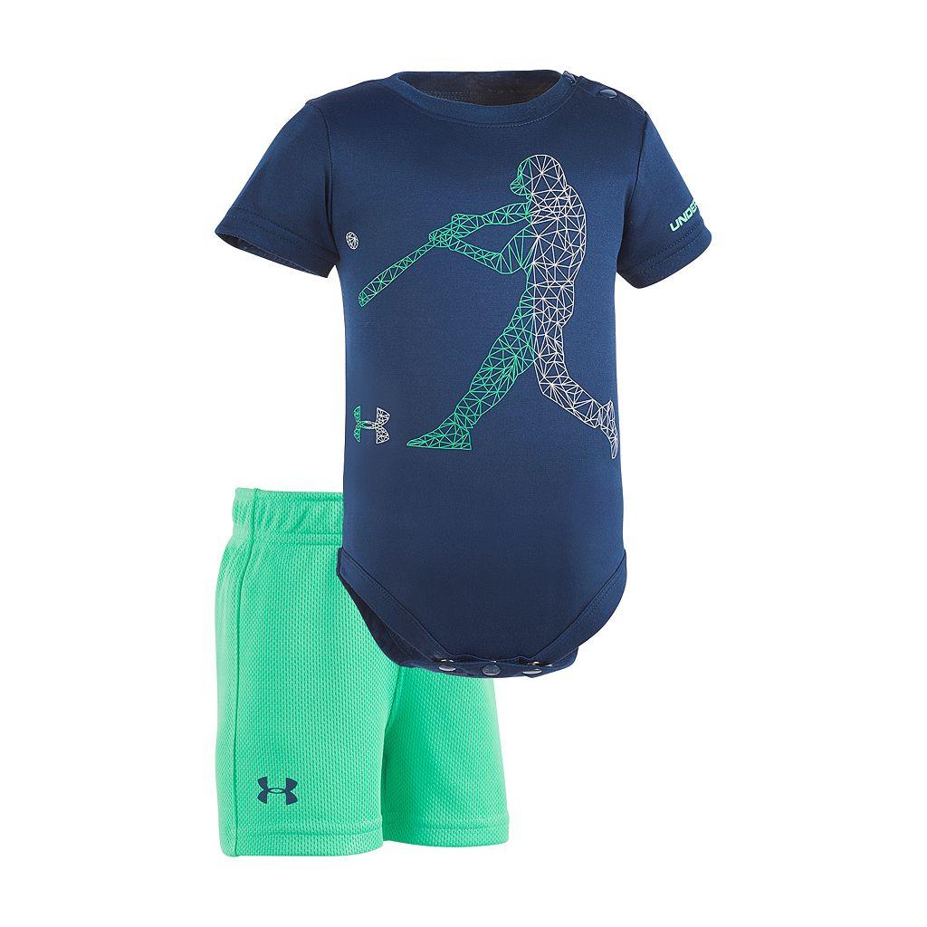 Baby Boy Under Armour Baseball Player Graphic Bodysuit & Mesh Shorts Set