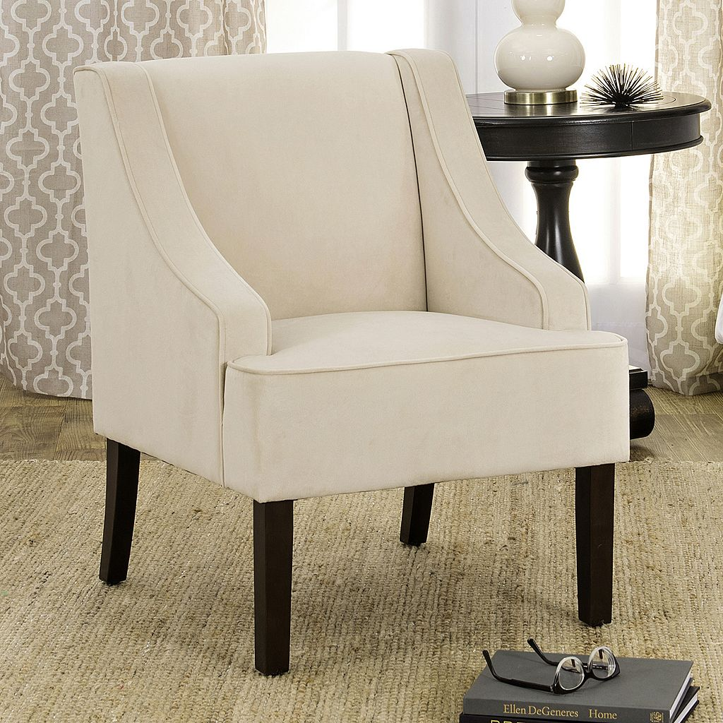 HomePop Velvet Swoop Arm Accent Chair