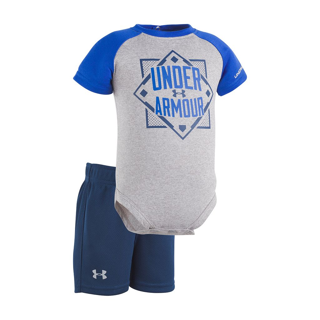 Baby Boy Under Armour Baseball Graphic Bodysuit & Mesh Shorts Set