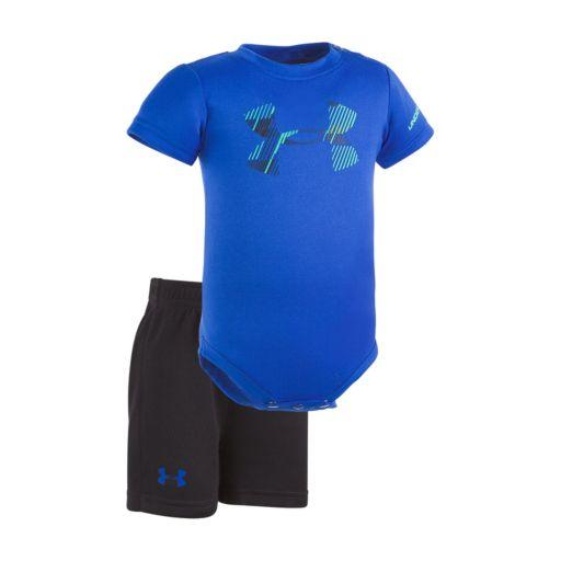 Baby Boy Under Armour Graphic Logo Bodysuit & Mesh Shorts Set
